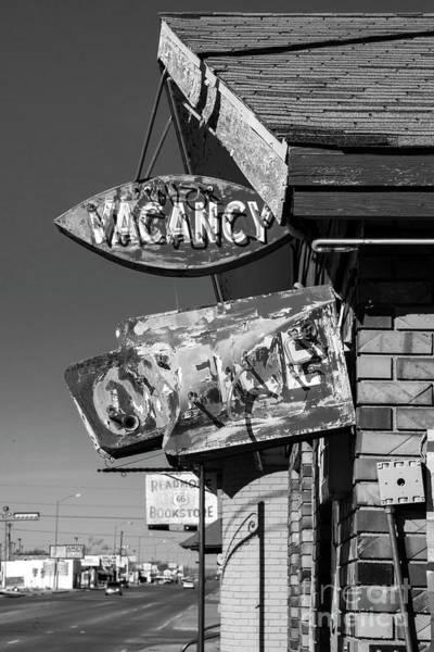 Wall Art - Photograph - Vacancy On Route 66 In Black And White by Twenty Two North Photography