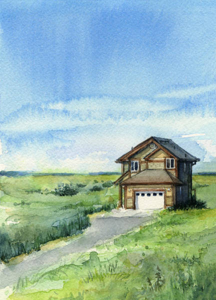 Dunes Painting - Vacation House In A Field - Watercolor - Long Beach, Wa by Olga Shvartsur