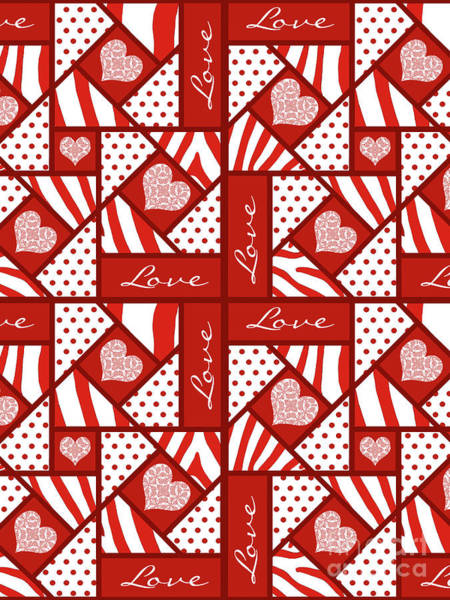 Quilt Digital Art - Valentine 4 Square Quilt Block by Methune Hively