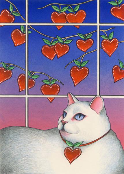 Wall Art - Painting - Valentine Cat by Carol Wilson