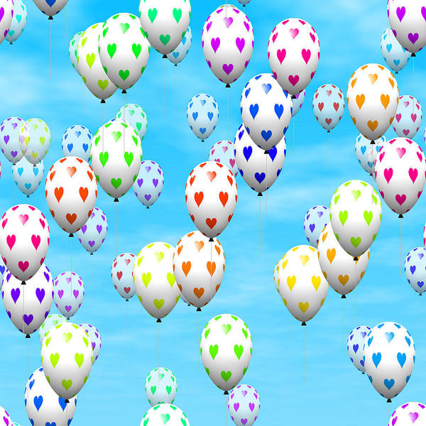 Balloon Festival Digital Art - Valentine Heart Balloons by Miroslav Nemecek
