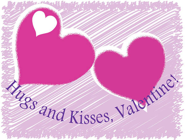 Digital Art - Valentine-hugs And Kisses by Barbara Jacobs