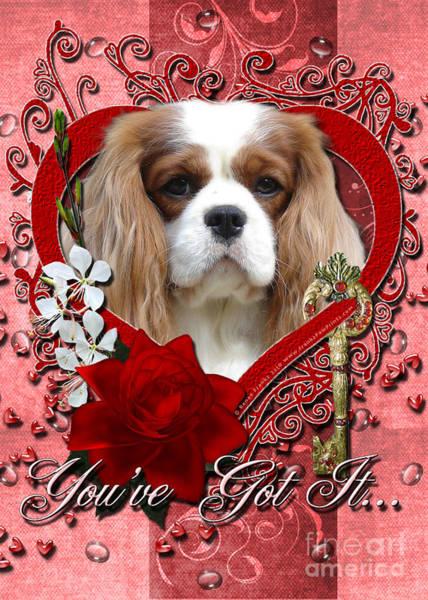Blenheim Digital Art - Valentines - Key To My Heart Cavalier King Charles Spaniel by Renae Crevalle