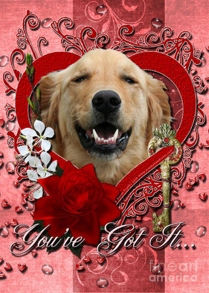 Golden Retriever Digital Art - Valentines - Key To My Heart Golden Retriever by Renae Crevalle