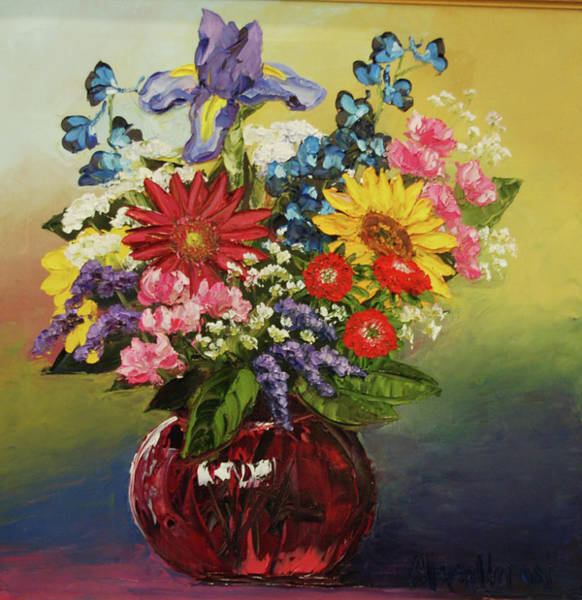 Snap Dragons Wall Art - Painting - Valentine's Bouquet by Alison Vernon