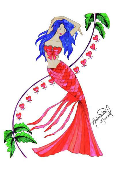 Mademoiselle Digital Art - Valentine's Day Mermaid by Mademoiselle Mermaid