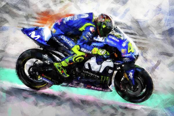 Painting - Valentino Rossi - 01 by Andrea Mazzocchetti