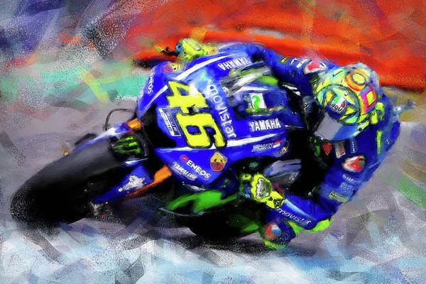 Painting - Valentino Rossi - 02 by Andrea Mazzocchetti