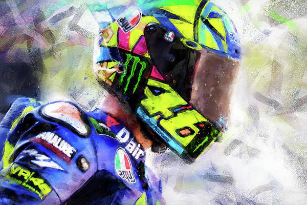 Painting - Valentino Rossi - 04 by Andrea Mazzocchetti