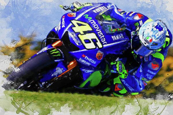 Painting - Valentino Rossi - 05 by Andrea Mazzocchetti