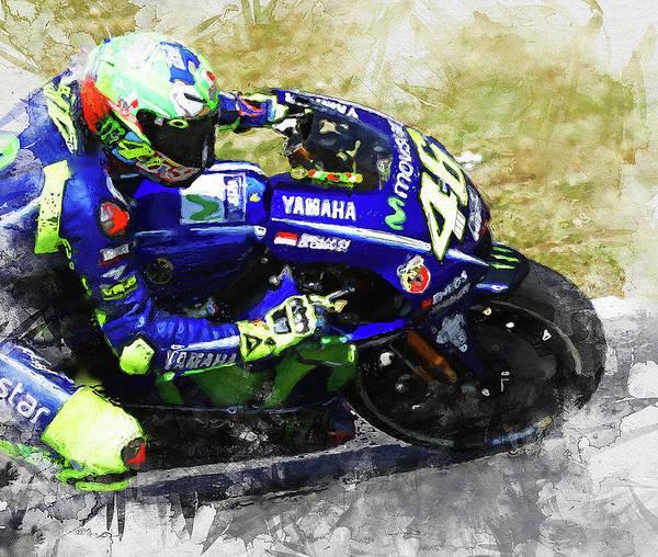 Painting - Valentino Rossi - 06  by Andrea Mazzocchetti