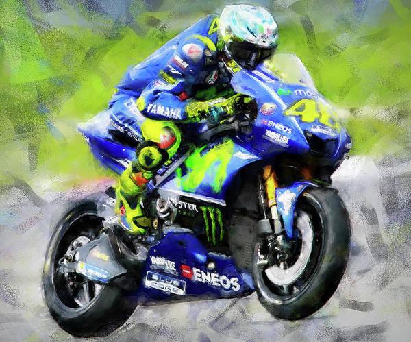 Painting - Valentino Rossi - 07 by Andrea Mazzocchetti