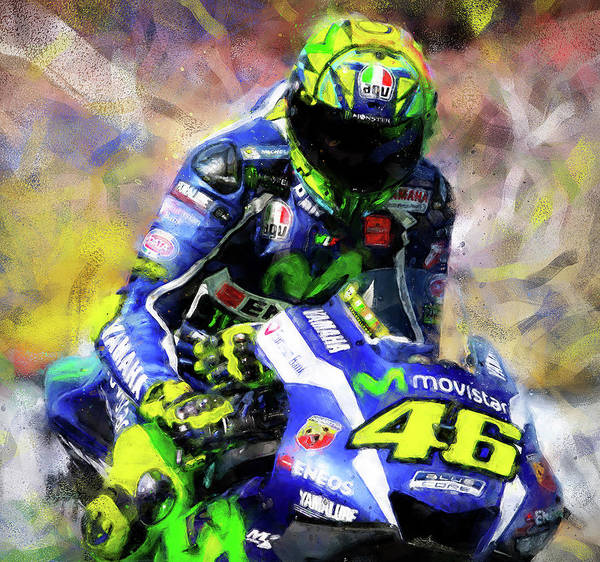 Painting - Valentino Rossi - 08 by Andrea Mazzocchetti