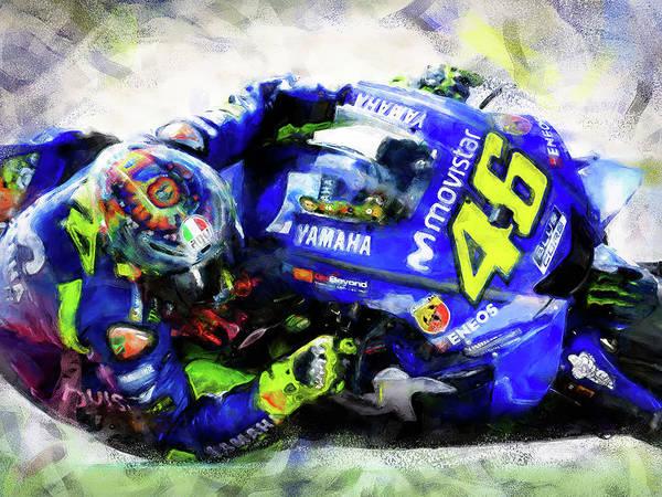 Painting - Valentino Rossi - 10 by Andrea Mazzocchetti