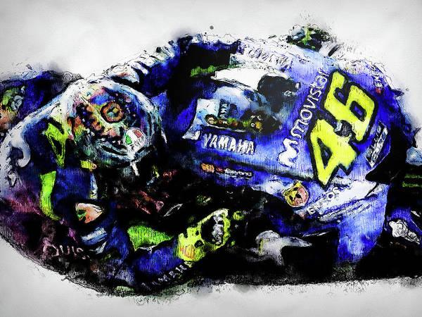 Painting - Valentino Rossi - 12 by Andrea Mazzocchetti