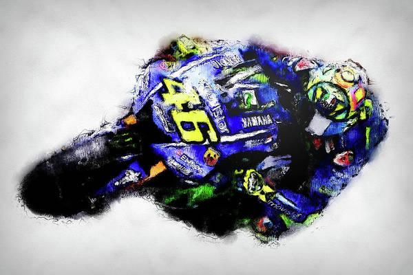 Painting - Valentino Rossi - 13 by Andrea Mazzocchetti