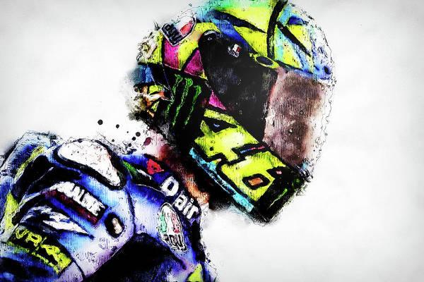 Painting - Valentino Rossi - 14 by Andrea Mazzocchetti