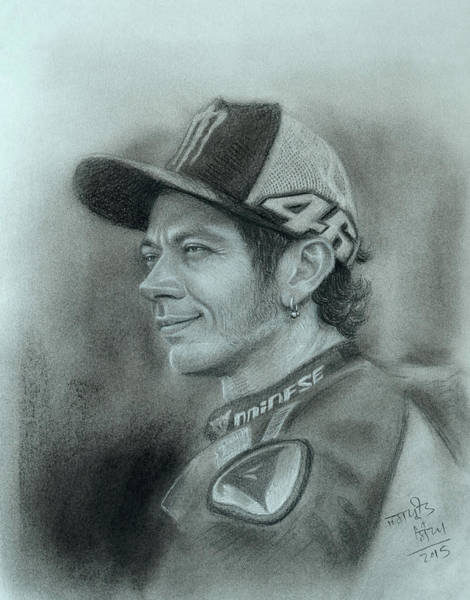 Singh Drawing - Valentino Rossi 46 by Jaspreet Singh