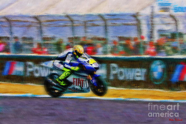 Photograph - Valentino Rossi Head Down Wheel Up by Blake Richards