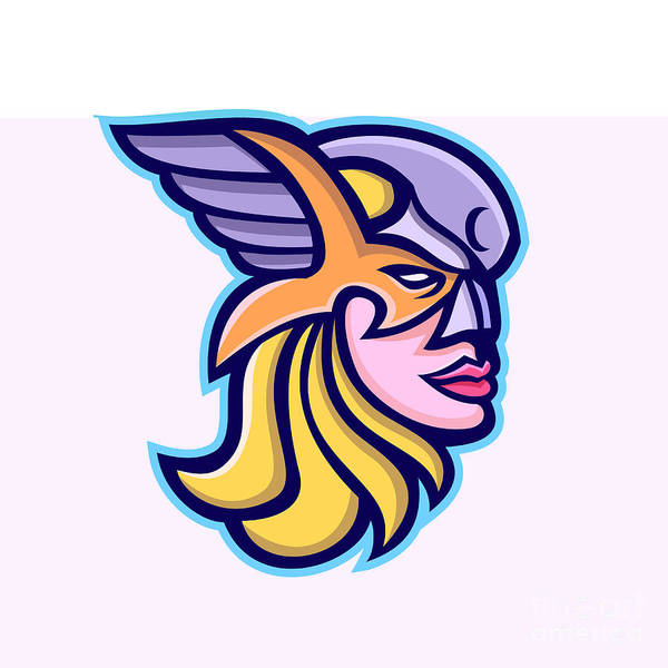 Valkyrie Digital Art - Valkyrie Warrior Mascot by Aloysius Patrimonio