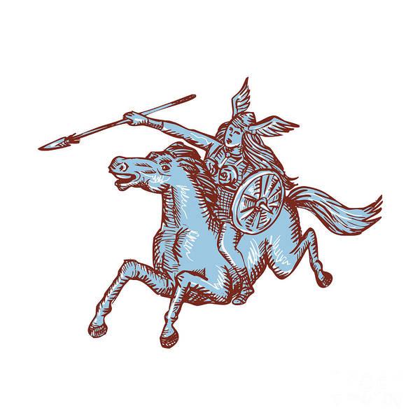 Valkyrie Digital Art - Valkyrie Warrior Riding Horse Spear Etching by Aloysius Patrimonio