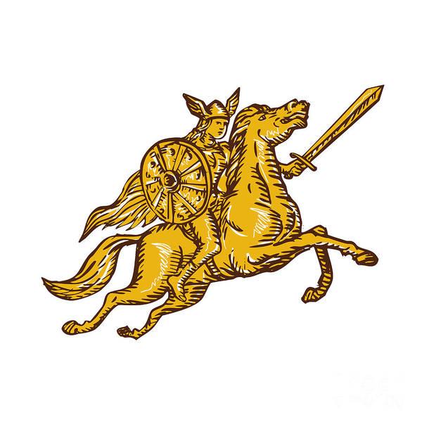 Valkyrie Digital Art - Valkyrie Warrior Riding Horse Sword Etching by Aloysius Patrimonio