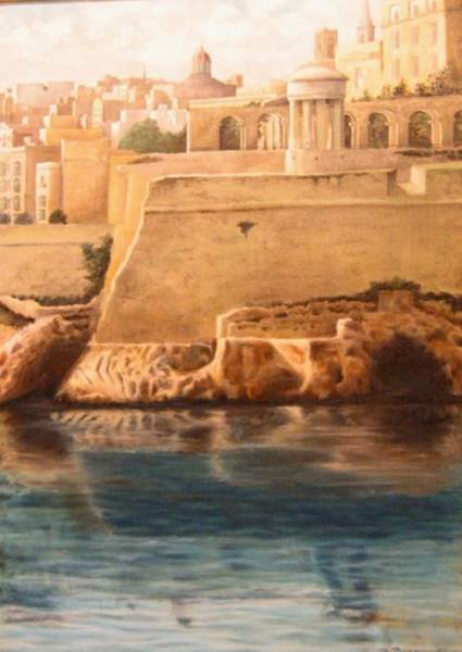 Benny Painting - Valletta Fortresses by Benny Brimmer