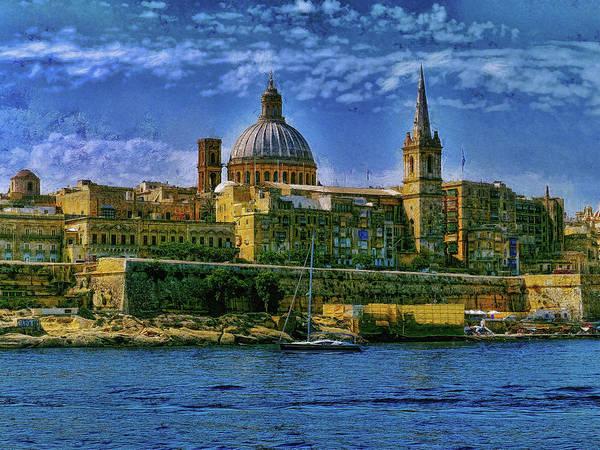 Digital Art - Valletta Landscape Viewed Silema by Leigh Kemp