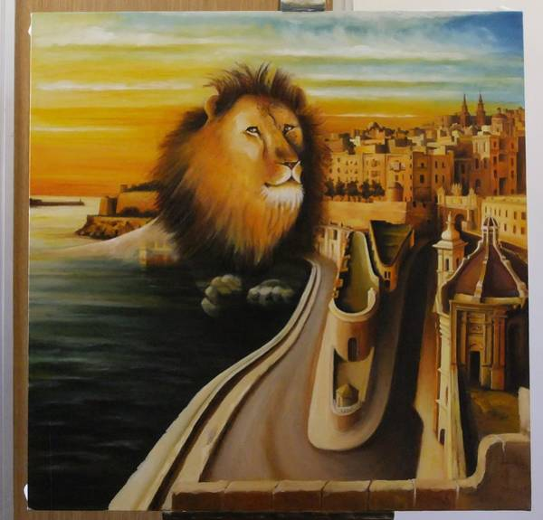 Benny Painting - Valletta's Lion by Benny Brimmer