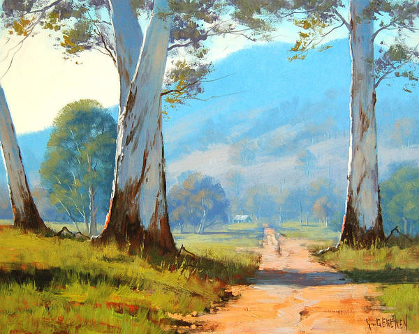 Old Tree Painting - Valley Farm by Graham Gercken