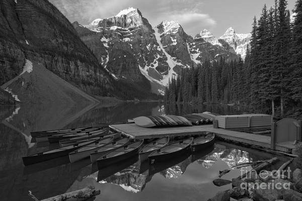 Photograph - Valley Of Ten Peaks June Sunrise Black And White by Adam Jewell