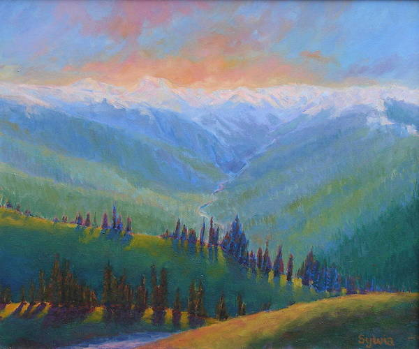 Wall Art - Painting - Valley Of The Mountains by Sylvia Carlton
