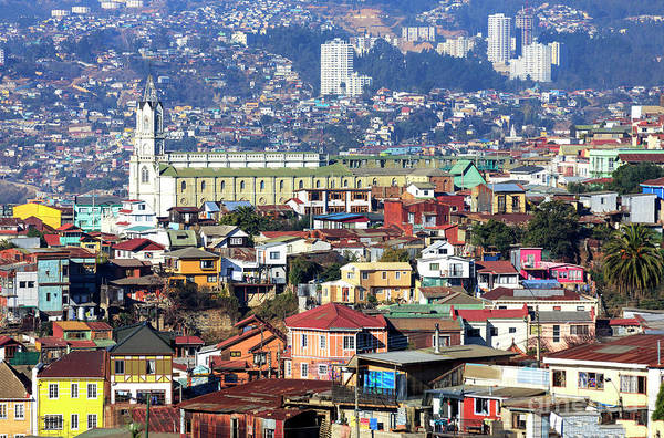 Photograph - Valparaiso Buildings Chile by John Rizzuto