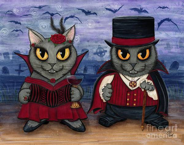 Painting - Vampire Cat Couple by Carrie Hawks