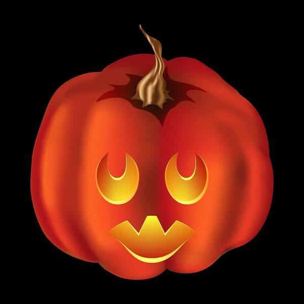 Digital Art - Vampire Halloween Pumpkin by MM Anderson