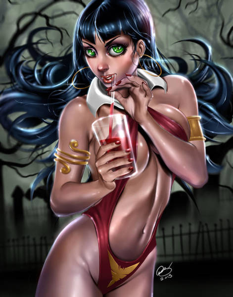 Painting - Vampirella by Pete Tapang