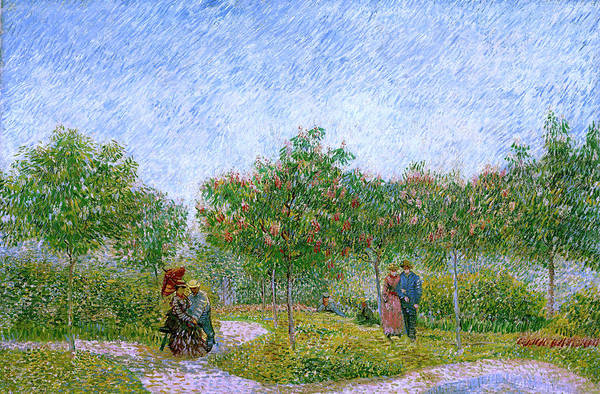 Wall Art - Painting - Van Gogh Garden In Montmartre With Lovers by Vincent Van Gogh
