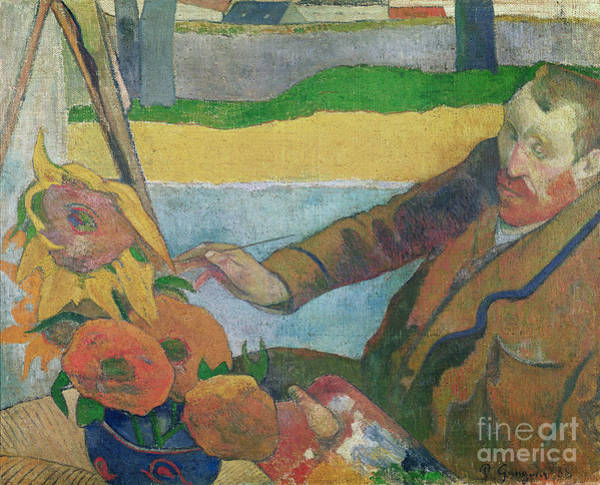 Wall Art - Painting - Van Gogh Painting Sunflowers by Paul Gauguin