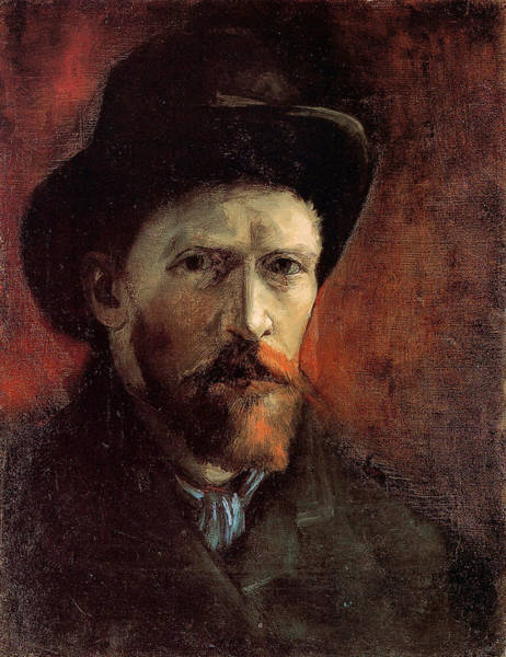Wall Art - Painting - Van Gogh Self Portrait Dark Felt Hat by Vincent Van Gogh