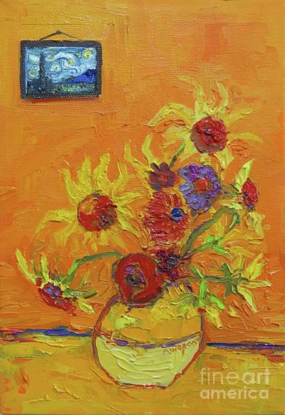 Painting - Van Gogh Starry Night Sunflowers Inspired Modern Impressionist by Patricia Awapara