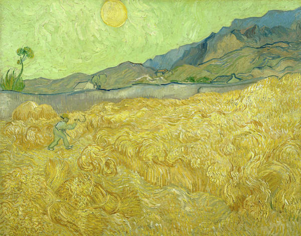 Wall Art - Painting - Van Gogh Wheat Fields Reaper Sunrise by Vincent Van Gogh