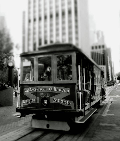 Black Car Photograph - Van Ness And Market Cable Car- By Linda Woods by Linda Woods