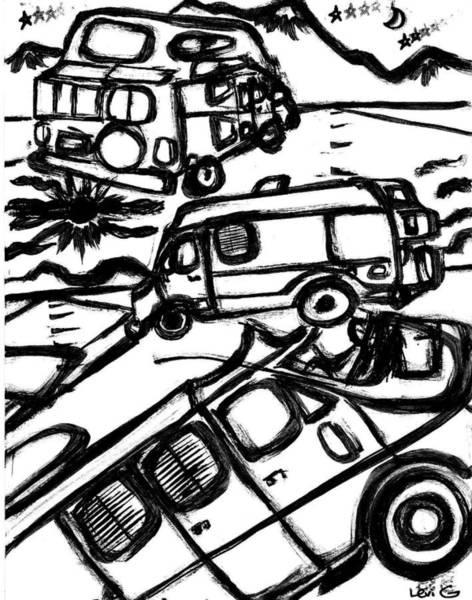 Electronica Drawing - Van Roadtrip by Levi Glassrock