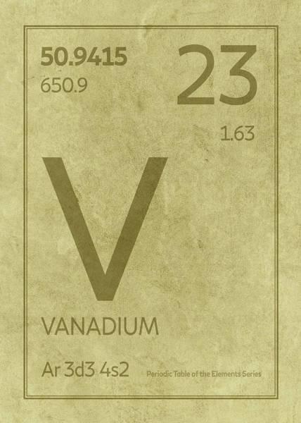Elements Mixed Media - Vanadium Element Symbol Periodic Table Series 023 by Design Turnpike