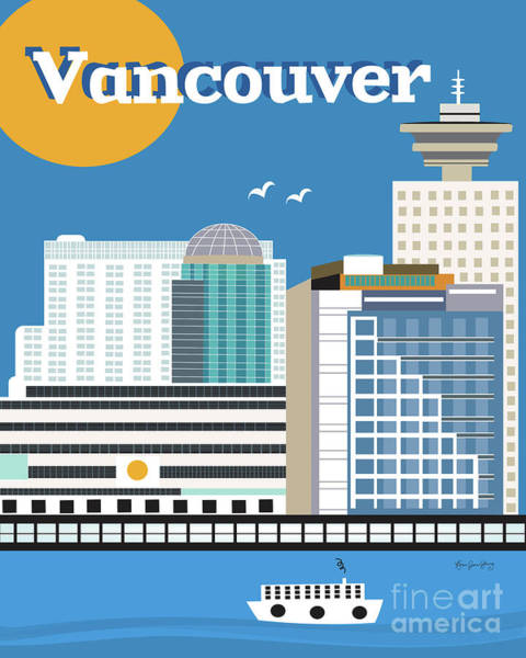 Vancouver Digital Art - Vancouver British Columbia Canada Vertical Skyline by Karen Young
