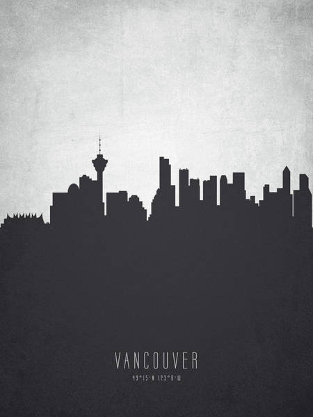Wall Art - Painting - Vancouver British Columbia Cityscape 19 by Aged Pixel