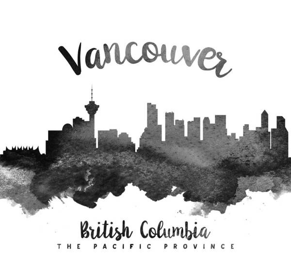 Wall Art - Painting - Vancouver British Columbia Skyline 18 by Aged Pixel