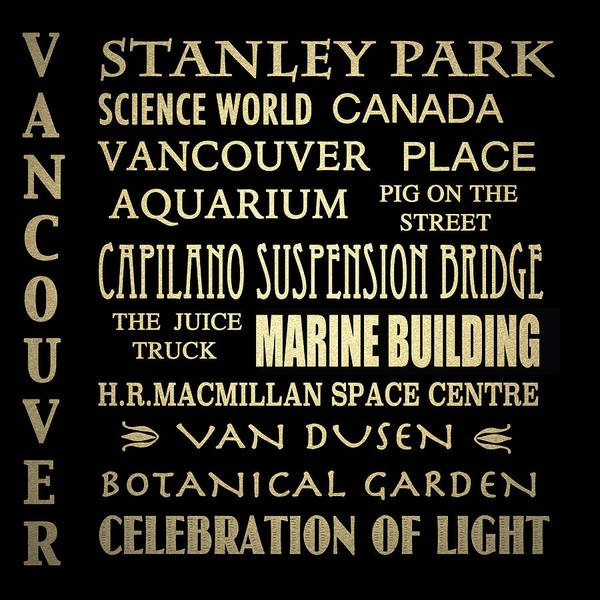 Vancouver Digital Art - Vancouver Canada Famous Landmarks by Patricia Lintner