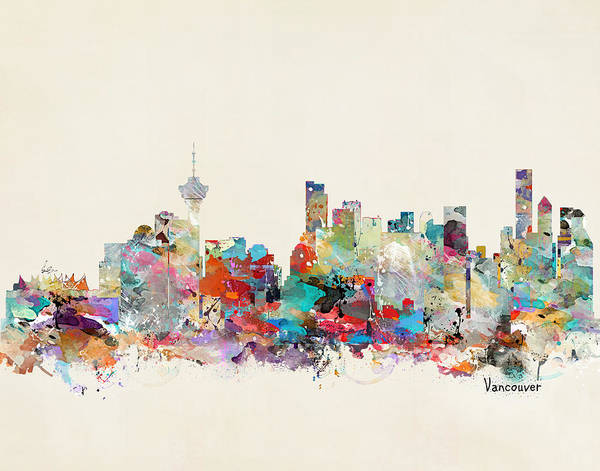 Vancouver Wall Art - Painting - Vancouver Canada Skyline by Bri Buckley