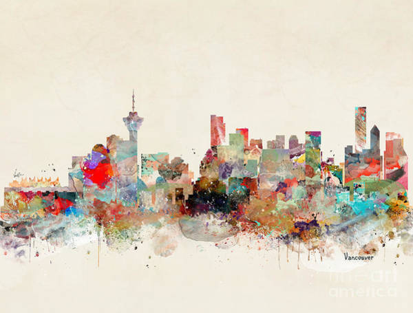 Vancouver Wall Art - Painting - Vancouver City Skyline by Bri Buckley